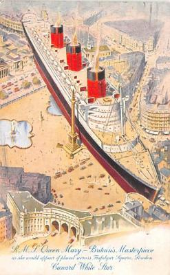 shp010989 - White Star Line Cunard Ship Post Card, Old Vintage Antique Postcard