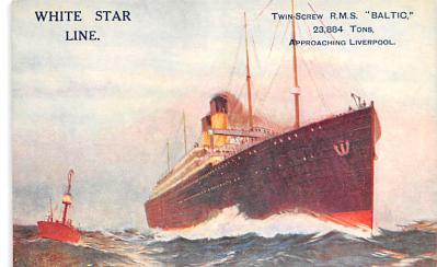 shp011045 - White Star Line Cunard Ship Post Card, Old Vintage Antique Postcard