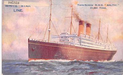 shp011063 - White Star Line Cunard Ship Post Card, Old Vintage Antique Postcard