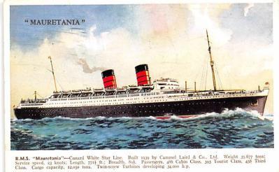 shp011105 - White Star Line Cunard Ship Post Card, Old Vintage Antique Postcard