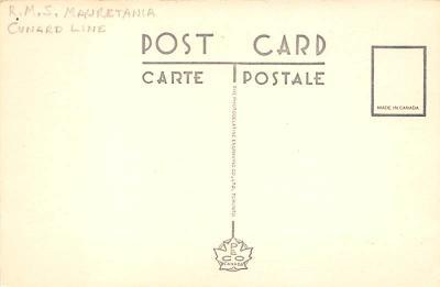 shpp006079 - Cunard Line Ship Postcard Old Vintage Steamer Antique Post Card  back
