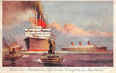 shpp006099 - Cunard Line Ship Postcard Old Vintage Steamer Antique Post Card