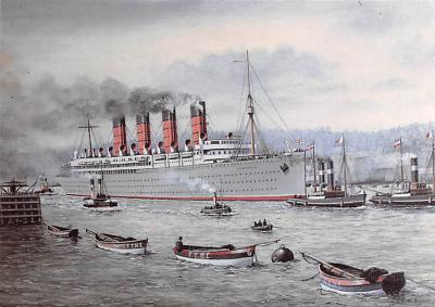 shpp006111 - Cunard Line Ship Postcard Old Vintage Steamer Antique Post Card