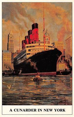 shpp006117 - Cunard Line Ship Postcard Old Vintage Steamer Antique Post Card