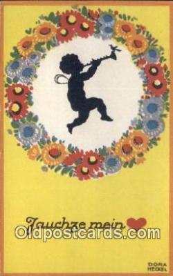sit001042 - Artist Dora Heckel Silhouette Postcard Post Card Old Vintage Antique