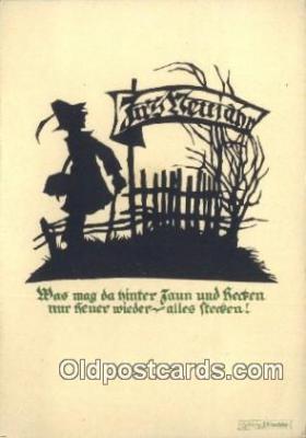sit001136 - Artist Georg Plischke, Continental Size Silhouette Postcard Post Card Old Vintage Antique