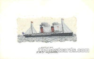slk001004 - R.M.S. Lucania Ship, Ships, Silk Postcard Postcards