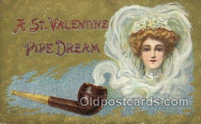 smo001305 - St Valentine Pipe Dream Smoking Postcards Old Vintage Antique Post Cards