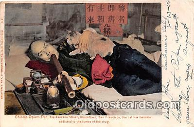 Chinese Opium Den Smoking Postcard Postcards