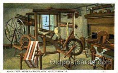 spi001007 - Martha Washington's Spining Room, Mount Vernon, VA, Virginia, USA Spinning Wheel Post Cards Postcards
