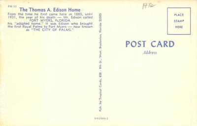 sub001381 - The Thomas A. Edison Home  back