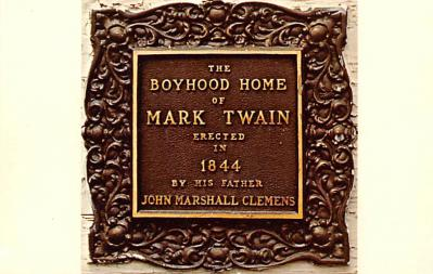 sub001467 - Bronze plaque on Mark Twain's Boyhood Home in Hannibal, MO, USA