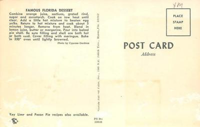 sub013845 - Florida Orange Meringue Pie  Postcard  back