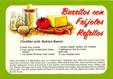sub013859 - Burritos con Frijoles Refritos Tortillas with Refried Beans Postcard
