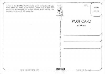 sub013893 - Del-Mar-Va Crab Cakes Postcard  back