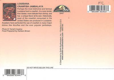 sub013903 - Louisiana  Crawfish Jambalya Postcard  back