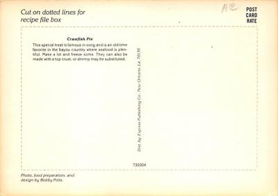 sub013905 - Southern Recipe Series Crawfish Pie Postcard  back