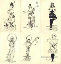 set184 - Xavier Sager Postcards 6 Card Set Old Vintage Antique