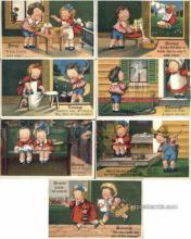 set195 - Wiederseim / Drayton Postcards, 7 Card Set Series 38 Old Vintage Antique