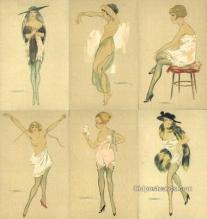 set199 - Calderara Postcards 6 Card Set, Series 3241 Postcard Old Vintage Antique
