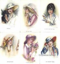 set205 - Artist Thomas Postcards 6 Card Set Celesque Series 1422, Postcard Old Vintage Antique