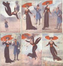 set207 - Taylor Art Co. 6 Card Set Postcard Old Vintage Antique