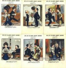 set209 - 6 Card Set An Up to Date Heart Drama, Postcard Old Vintage Antique