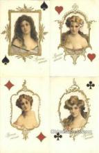 set216 - Silk 4 Card Set Postcard Old Vintage Antique