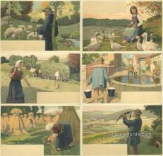 set221 - 6 Card Set Postcard Old Vintage Antique
