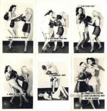 set222 - Female Boxing 6 Card Set Postcard Old Vintage Antique