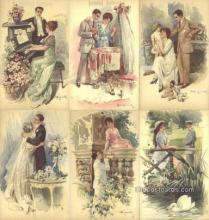 set243 - A. Simonetti Postcards 6 Card Set Series 292 Postcard Old Vintage Antique