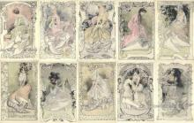 set254 - Gaston Noury 10 Card Set Postcard Old Vintage Antique