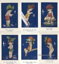 set256 - Fred Spurgin 6 Card Set Postcard Old Vintage Antique