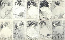 set257 - Gaston Noury 10 Card Set Postcard Old Vintage Antique