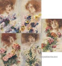 set260 - Santino 5 Card Set Postcard Old Vintage Antique