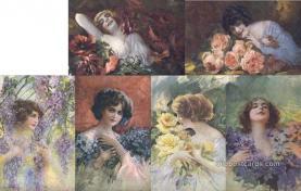 set262 - Guerzoni Postcards, 6 Card Set, Series 1007 Postcard Old Vintage Antique