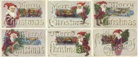 set264 - Christmas 6 Card Set Postcard Old Vintage Antique
