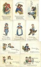 set267 - Frances Brundage Postcards 10 Card Set, Series 133, Post card Old Vintage Antique