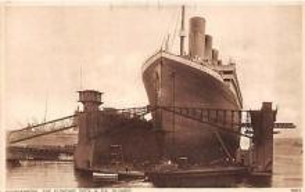 shi002124 - Southhampton, The Floating Dock & SS Olympic, Titanic Sister Ship Ship Postcard Postcards