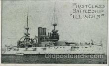 shi003303 - Battleship Illinois Military Ship, Ships, Postcard Postcards