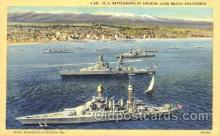 shi003375 - U.S. Battleships at anchor, long beach, california,USA Military Ship Ships Postcard Postcards