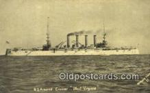shi003455 - US Armored Cruiser, West Virginia Military Battleship Postcard Post Card Old Vintage Anitque