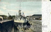 shi003487 - Battle Ship Missouri, Charlestown, Mass. Military Battleship Postcard Post Card Old Vintage Anitque