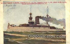 shi003509 - US Battleship Alabama Military Battleship Postcard Post Card Old Vintage Anitque