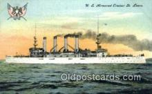 shi003528 - US Armored Cruiser St. Louis Military Battleship Postcard Post Card Old Vintage Anitque