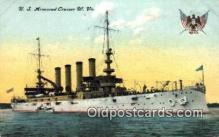 shi003545 - US Armored Cruiser W. VA. Military Battleship Postcard Post Card Old Vintage Anitque