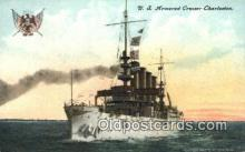 shi003551 - US Armored Cruiser Charleston Military Battleship Postcard Post Card Old Vintage Anitque