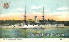 shi003579 - US Battleship Illinois Military Battleship Postcard Post Card Old Vintage Anitque