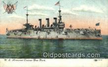shi003582 - US Armored Cruiser New York Military Battleship Postcard Post Card Old Vintage Anitque