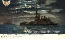shi003587 - US Battleship Massachusetts, Brooklyn Military Battleship Postcard Post Card Old Vintage Anitque